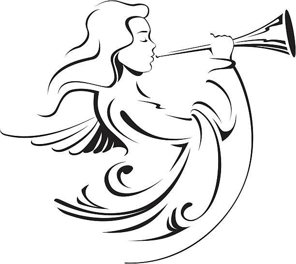 kalligraphische angel - fanfare stock-grafiken, -clipart, -cartoons und -symbole