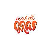Calligraphic badge. Hand Lettering Mardi Gras for Designs - logos