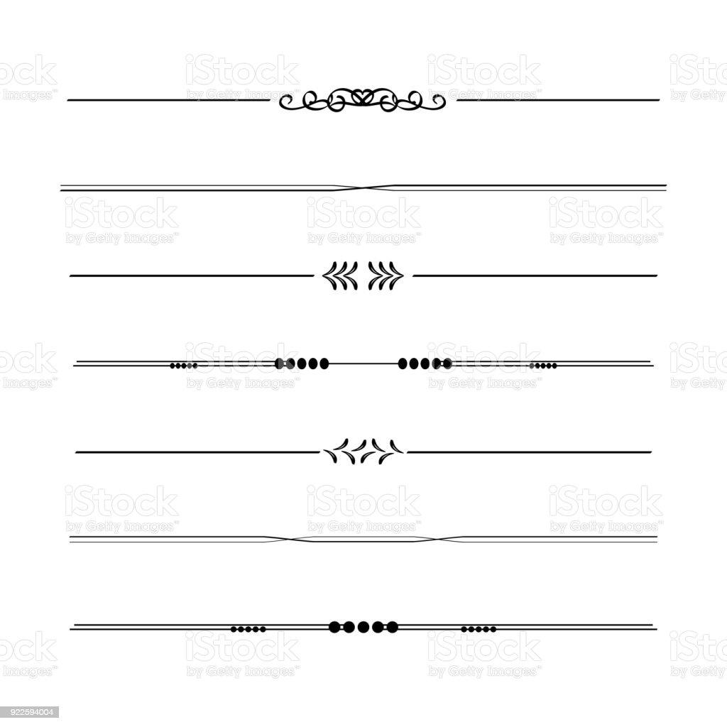 Elemento De Diseño Caligráfico Frontera Divisorio Marco En Estilo ...
