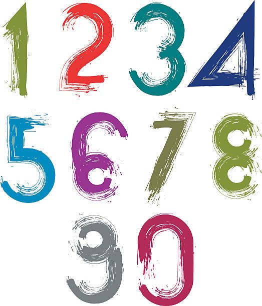 ilustrações, clipart, desenhos animados e ícones de calligraphic escova números, numeration vivas pintados à mão - texturas desgastadas