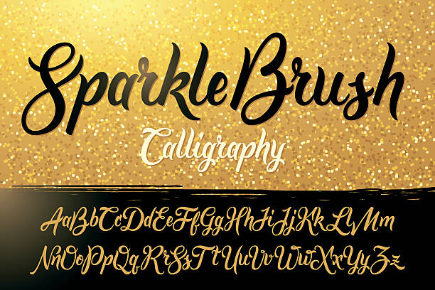 Calligraphic brushpen font with golden sparkles background Calligraphic brushpen font with golden sparkles background handwriting stock illustrations