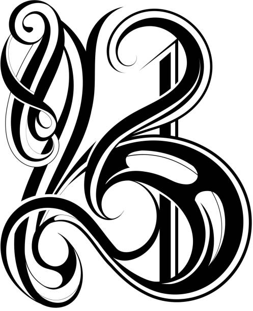 B Tattoo Images: Letter B Tattoo Designs Illustrations, Royalty-Free Vector