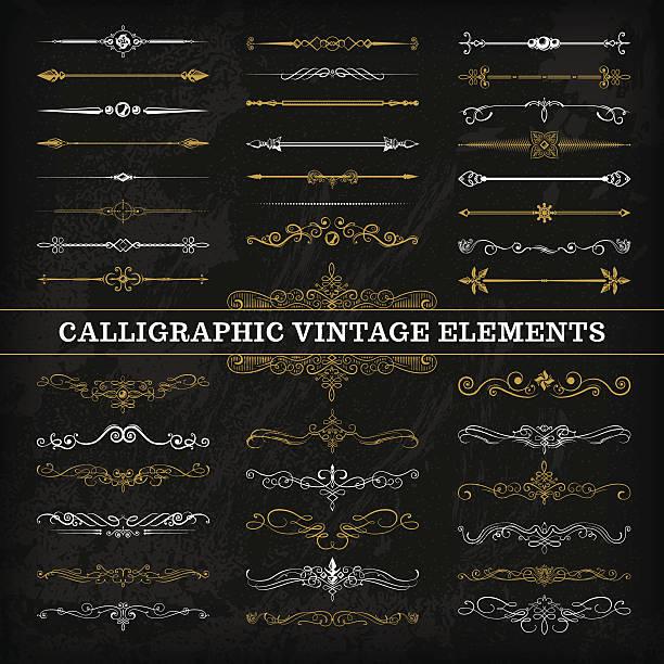 illustrazioni stock, clip art, cartoni animati e icone di tendenza di calligraphic chalkboard elementi - separazione