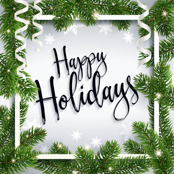 calligraphic christmas greeting happy holidays - happy holidays stock illustrations, clip art, cartoons, & icons