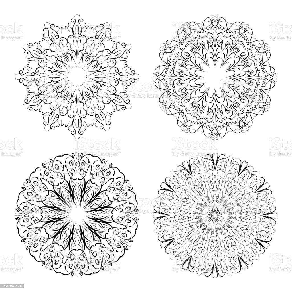 Ilustración de Patrones De Encaje De Círculo Caligráfico En Diseño ...