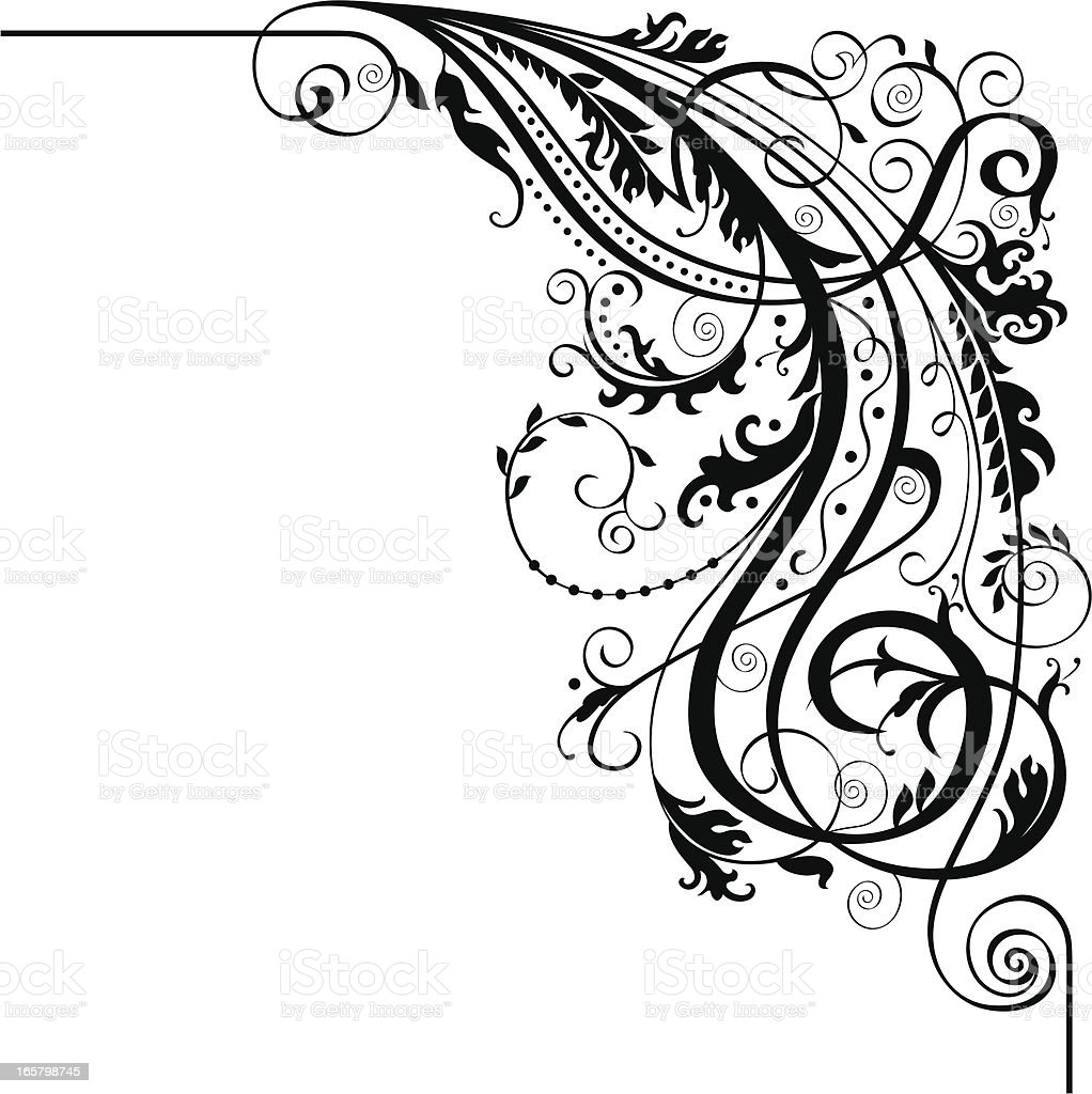 Calligraphic Corner Royalty Free Stock Vector Art Amp More Images Of Black