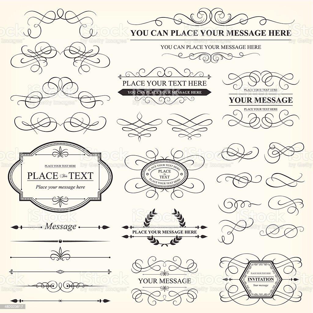Calligraphic decorative elements & Vintage frames royalty-free calligraphic decorative elements vintage frames stock vector art & more images of antique