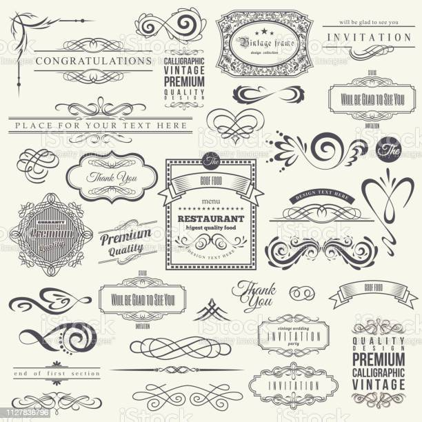Calligraphic design elements and frames vintage collection vector vector id1127836796?b=1&k=6&m=1127836796&s=612x612&h=b3dro4rr3x f1mk 5wtbrx3c0wyosbgdhiwvxvqwwzw=