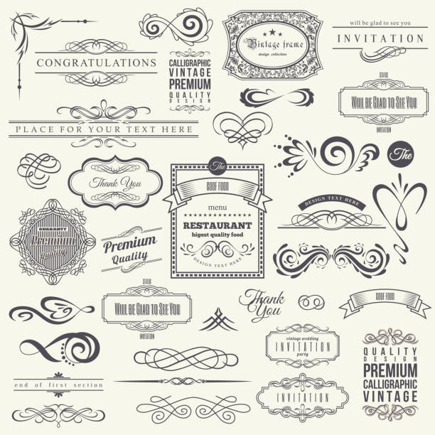 ilustrações de stock, clip art, desenhos animados e ícones de calligraphic design elements and frames. vintage collection. vector - vintage