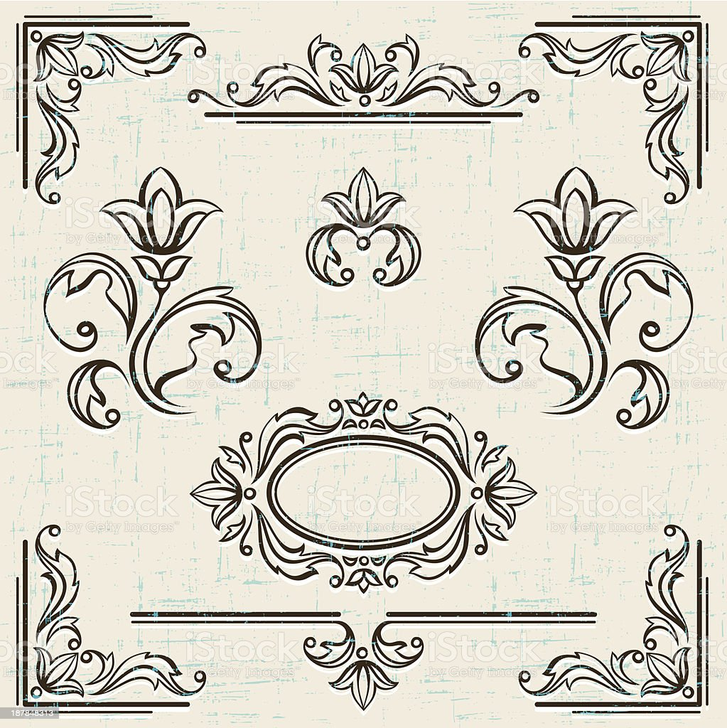 Calligraphic design elements and page decoration vintage frames. royalty-free stock vector art