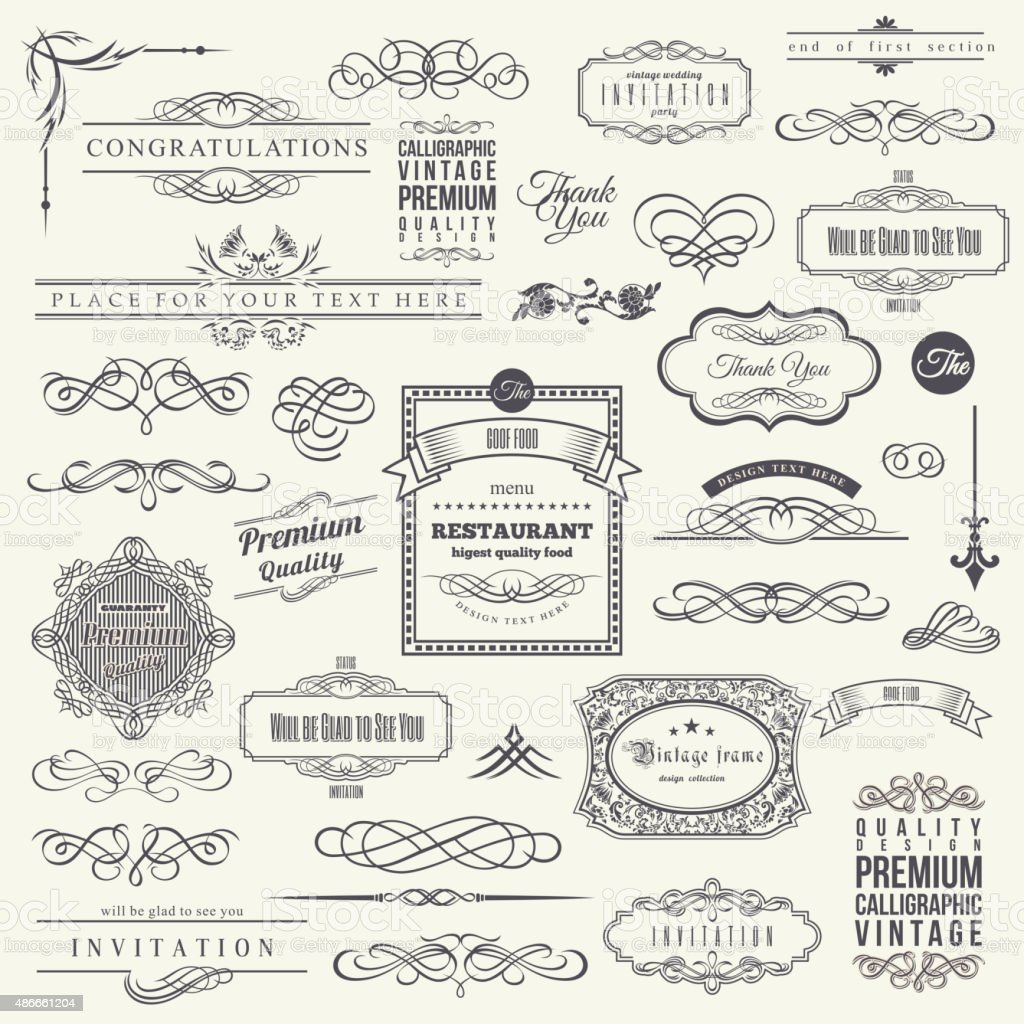 Calligraphic Design Elements Border Corner Frame And Invitation Collection Royalty Free
