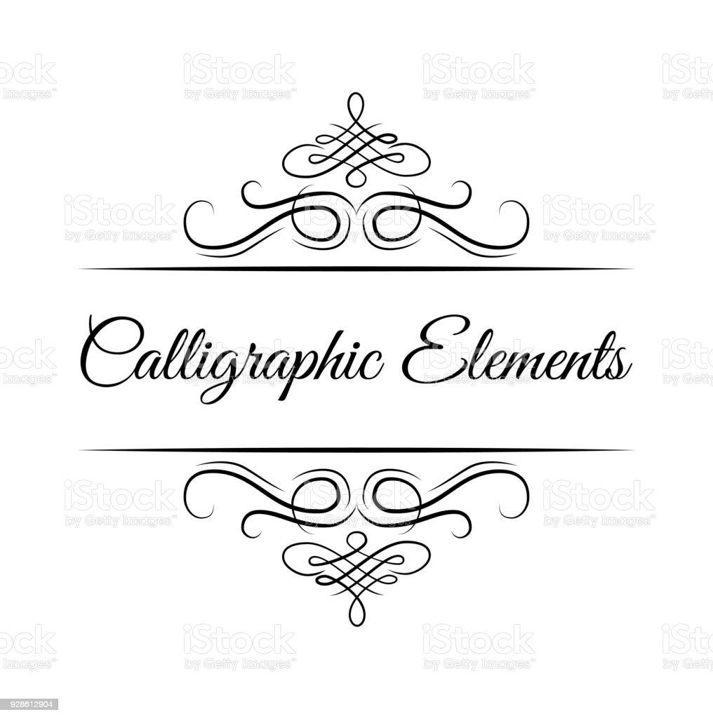 Calligraphic Design Elements Decorative Swirls Or Scrolls Vintage Frames Flourishes Vector