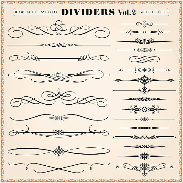 Calligraphic Design Elements, Dividers and Dashes Set of vector vintage calligraphic design elements and page decoration, dividers and dashes hyphen stock illustrations