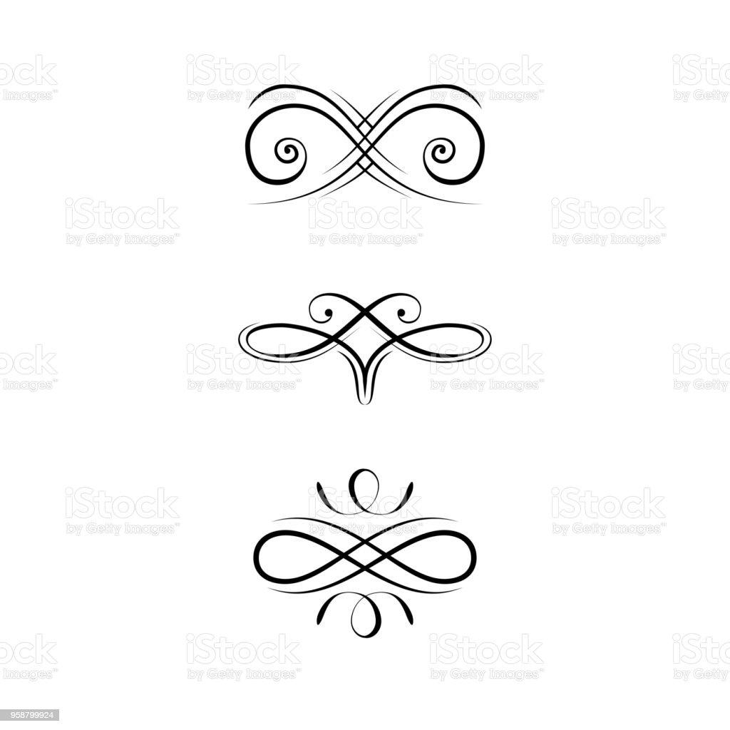 Calligraphic Design Elements Page Decoration Set Swirls Filigree ...