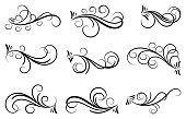 Set of curls and scrolls for wall decoration, books, cards and tattoos.