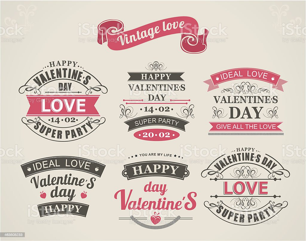 Calligraphic Design Elements Valentine's Day