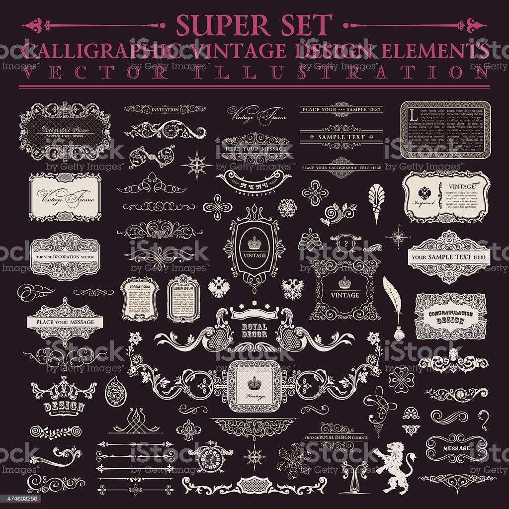 Calligraphic design elements. Vector baroque set. Vintage icons vector art illustration