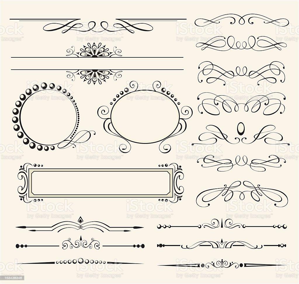 Calligraphic design elements vector art illustration