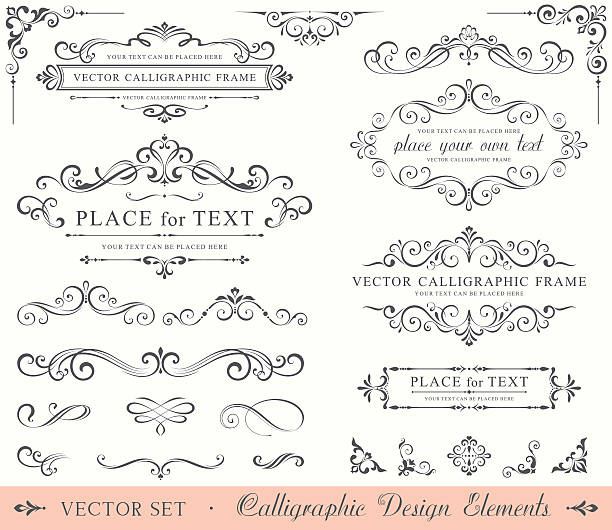 calligraphic design elements - dekoratif stock illustrations, clip art, cartoons, & icons
