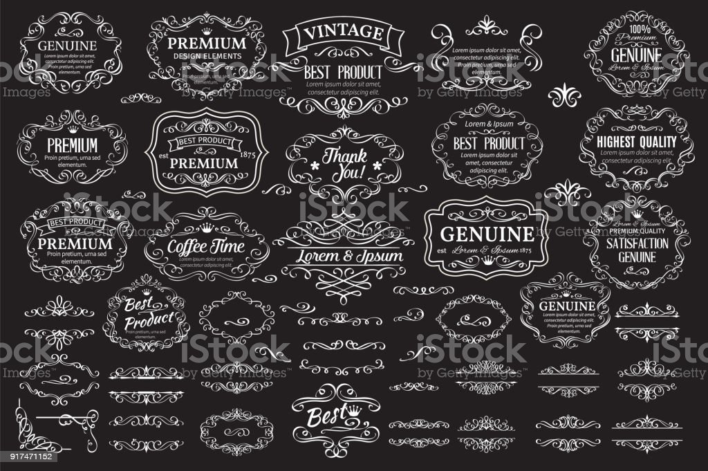 Calligraphic design elements royalty-free calligraphic design elements stock illustration - download image now