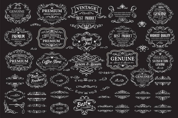 calligraphic design elements - retro and vintage frames stock illustrations, clip art, cartoons, & icons