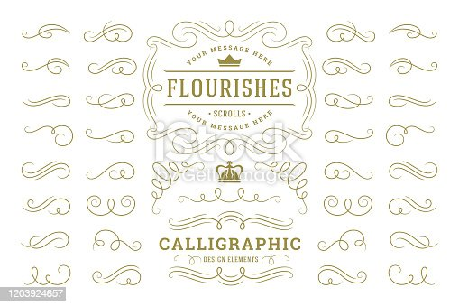 Calligraphic design elements vintage ornaments swirls and scrolls ornate decorations vector design elements. Good for retro design, greeting cards, certificates borders, frames and invitations.