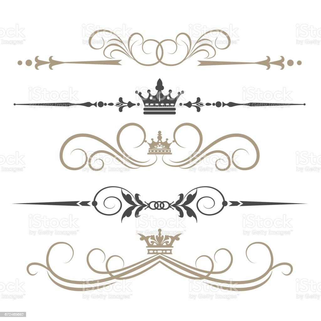 Calligraphic Design Elements, vintage vector art illustration