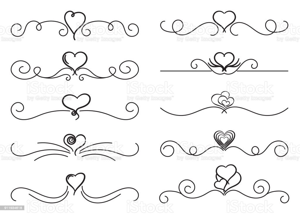 Calligraphic Design Elements With Hearts Swirls Vector Illustration Royalty Free
