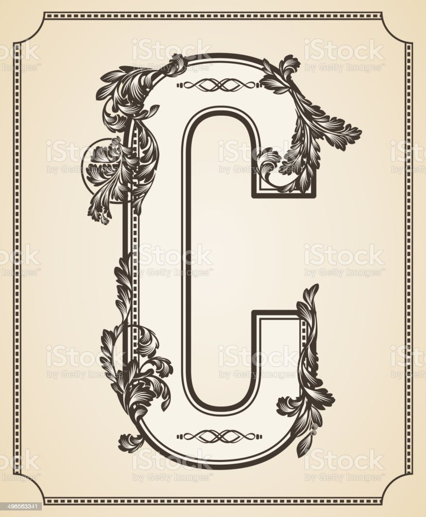 calligraphic design font with typographic floral elements letter c stock vector art  u0026 more