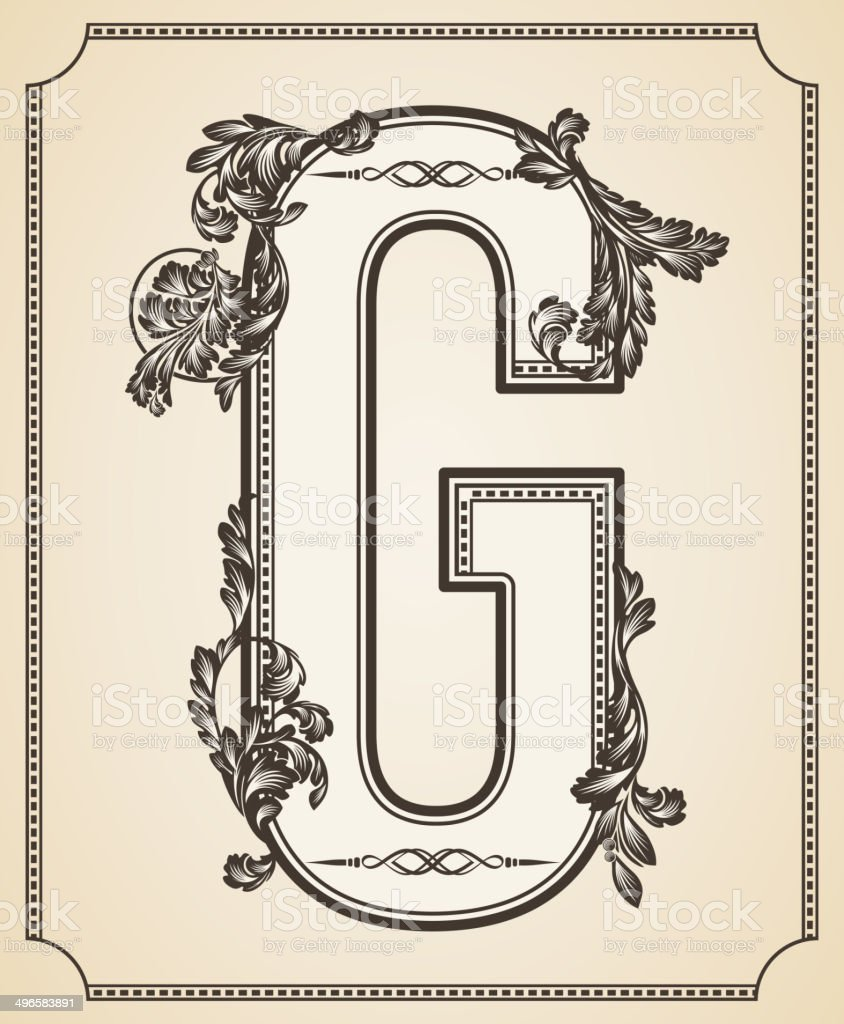 Calligraphic Design Font With Typographic Floral Elements Letter G Royalty Free