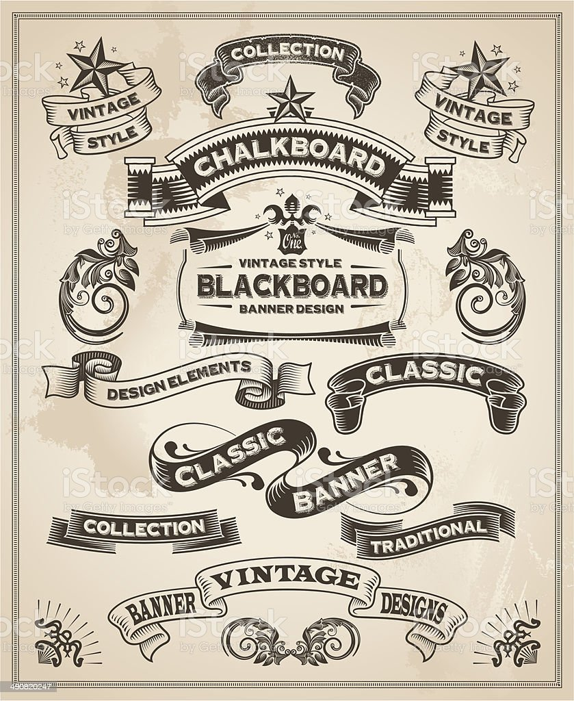 Calligraphic design of vintage banner and ribbons vector art illustration