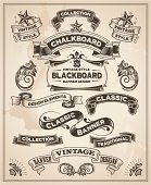 Calligraphic design of vintage banner and ribbons