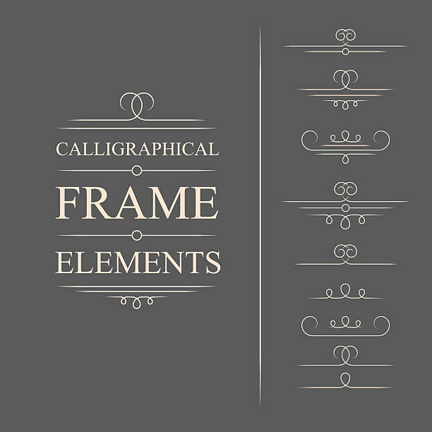Calligraphic design vector art Vector calligraphic frame elements. Decorative elements. Eps10 formalwear stock illustrations