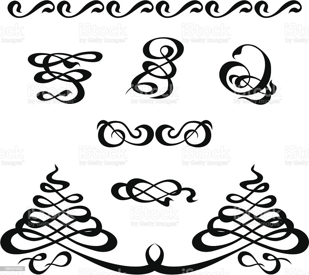 calligraphic elements set royalty-free stock vector art