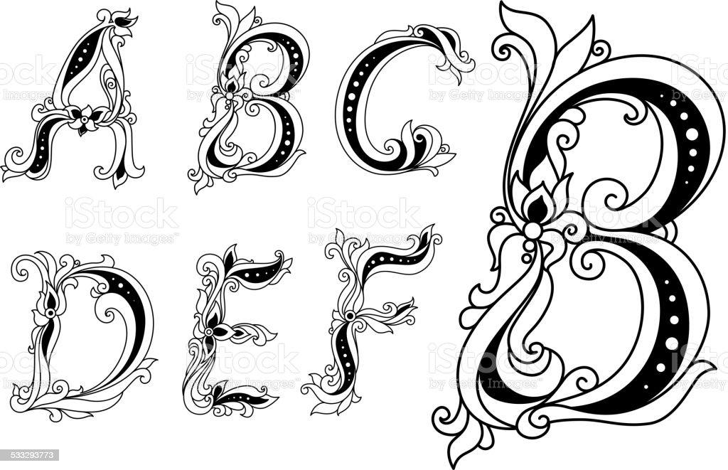 Calligraphic Blumen Buchstaben A B C D E Und F Stock