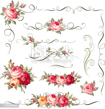 Vector bouquet of blooming flowers