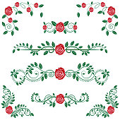 Vector illustration of a Set of beautiful and classical Calligraphic Floral Scroll and Roses