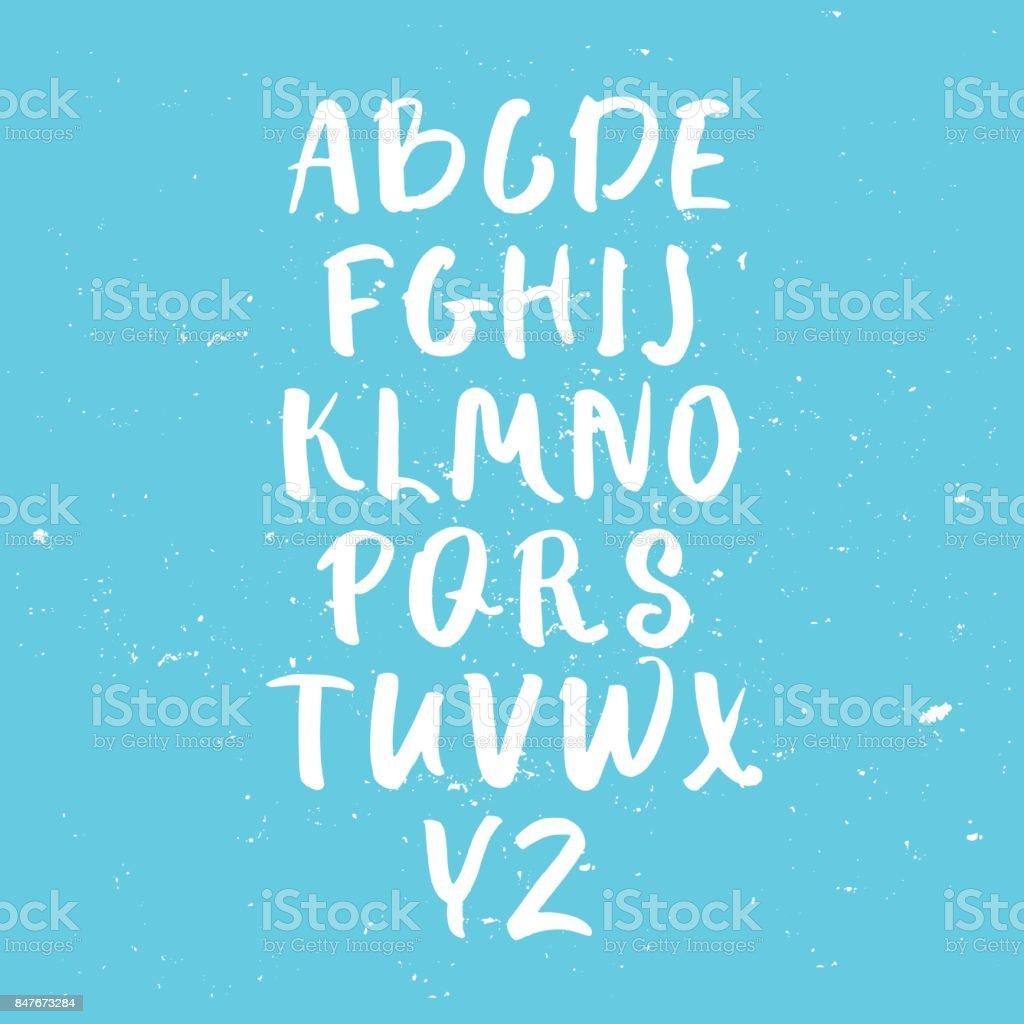 Calligraphic font. Handwritten alphabet in brush style on blue textured background. Vector illustration. vector art illustration