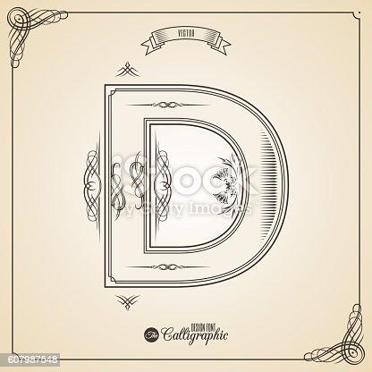 istock Calligraphic Fotn with Border, Frame Elements and Invitation Design Symbols 607987548