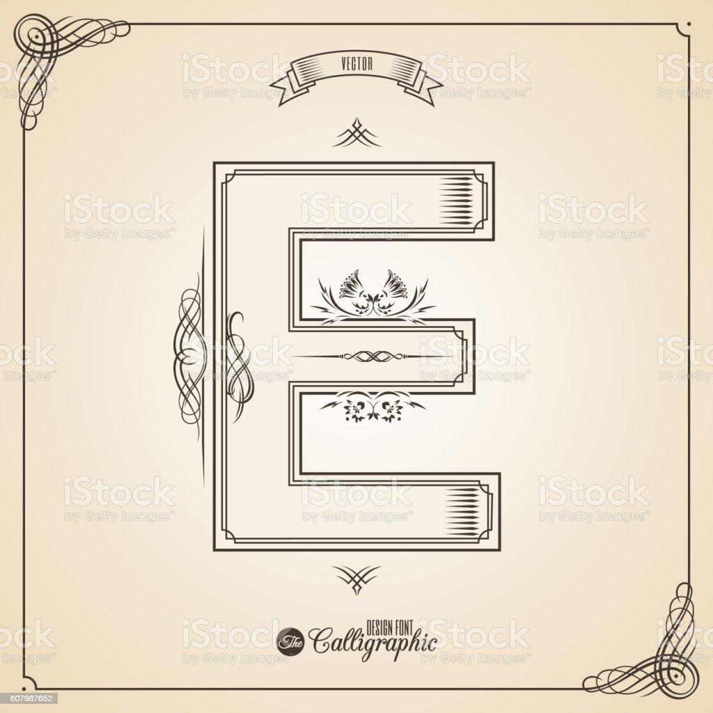 Ilustracion De Calligraphic Fotn With Border Frame Elements And
