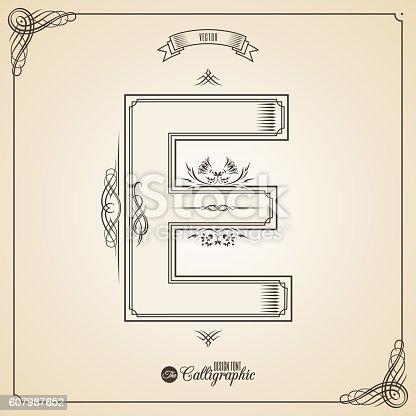 istock Calligraphic Fotn with Border, Frame Elements and Invitation Design Symbols 607987652
