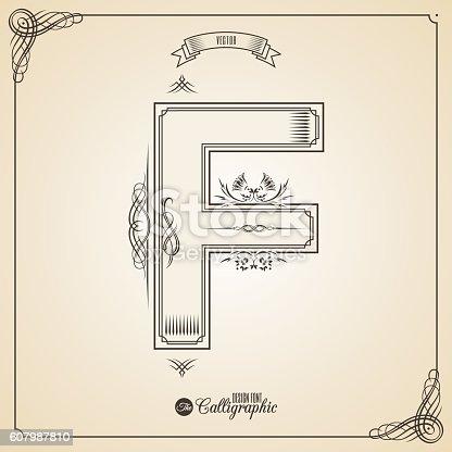 istock Calligraphic Fotn with Border, Frame Elements and Invitation Design Symbols 607987810