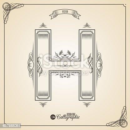 istock Calligraphic Fotn with Border, Frame Elements and Invitation Design Symbols 607988084