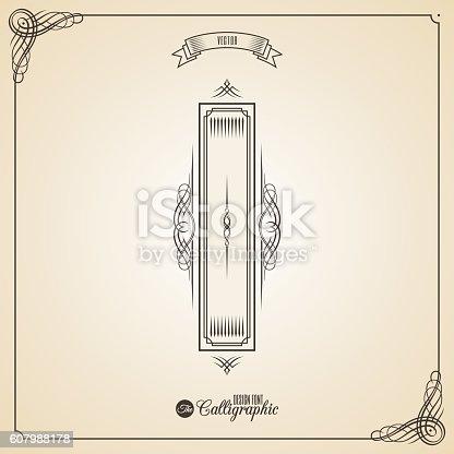 istock Calligraphic Fotn with Border, Frame Elements and Invitation Design Symbols 607988178