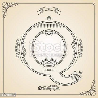 istock Calligraphic Fotn with Border, Frame Elements and Invitation Design Symbols 607988710