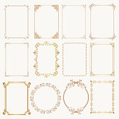Calligraphic frame set. Borders corners ornate frames for certificate, floral classic decoration, vintage frames with elegant swirl and scroll. Corner flourish filigree elements. Vector template
