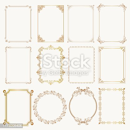 istock Calligraphic frame set. Borders corners ornate frames. Vector 1173205406