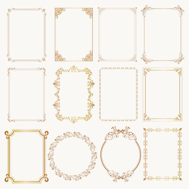 Calligraphic frame set. Borders corners ornate frames. Vector Calligraphic frame set. Borders corners ornate frames for certificate, floral classic decoration, vintage frames with elegant swirl and scroll. Corner flourish filigree elements. Vector template frame border stock illustrations
