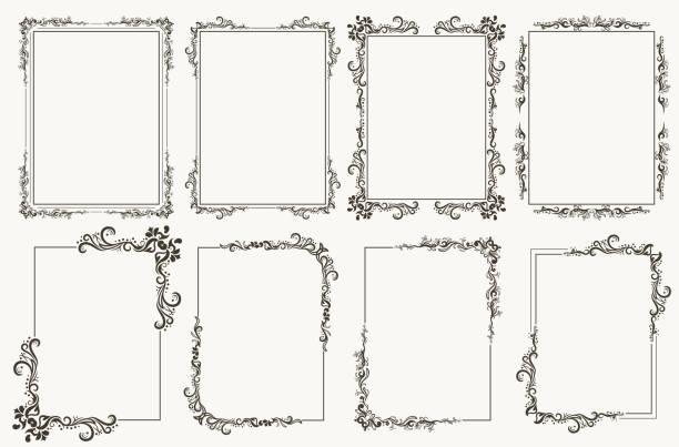 Calligraphic frame set. Borders corners ornate frames. Vector vector art illustration