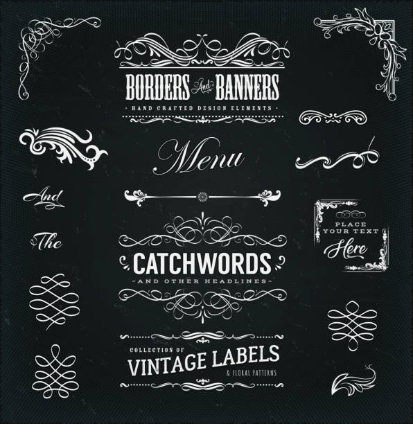 stockillustraties, clipart, cartoons en iconen met kalligrafische frames en banners op schoolbord - borden en symbolen